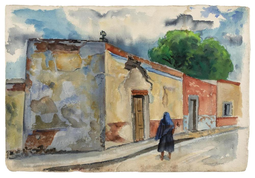 "ERNEST FIENE, New York/Germany, 1894-1965, ""Old Houses, San Miguel de Allende, Mexico""., Watercolor on watercolor board, 15.5"" x 22...."