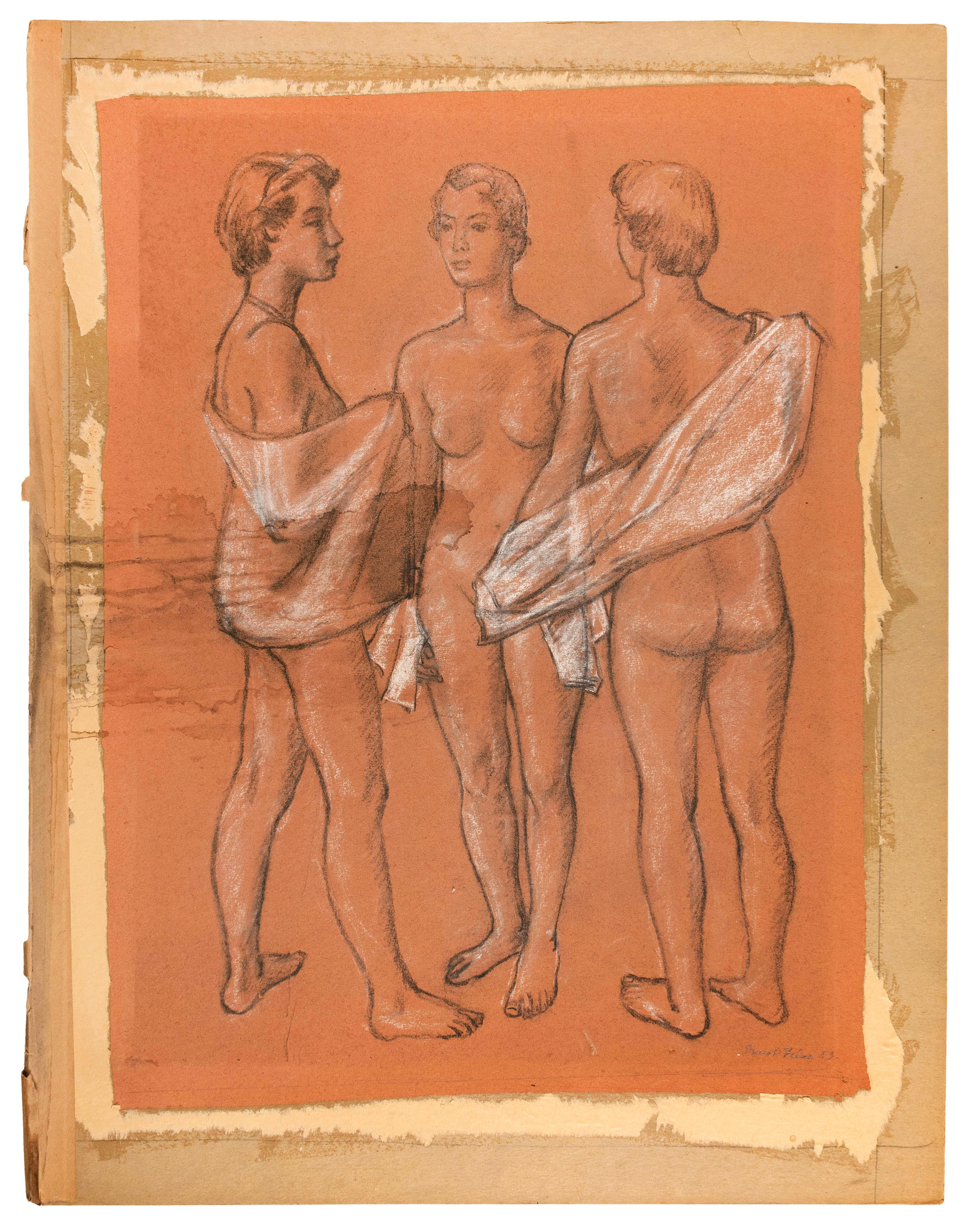 """ERNEST FIENE, New York/Germany, 1894-1965, Study of three nudes., Pastel and charcoal on paper laid down on stiff board, image 25.5""""..."""