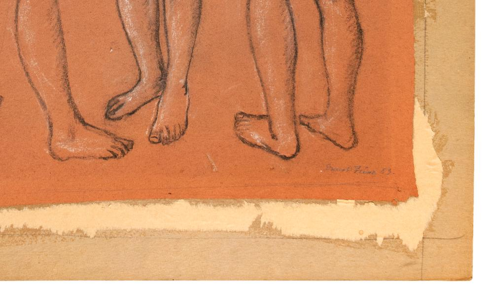ERNEST FIENE, New York/Germany, 1894-1965, Study of three nudes., Pastel and charcoal on paper laid down on stiff board, image 25.5