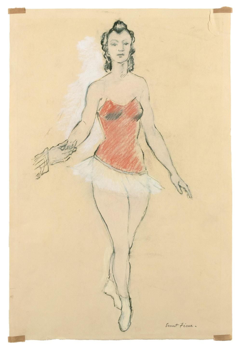 "ERNEST FIENE, New York/Germany, 1894-1965, Study of a ballerina., Charcoal and pastel, 20.25"" x 13.25"". Unframed."