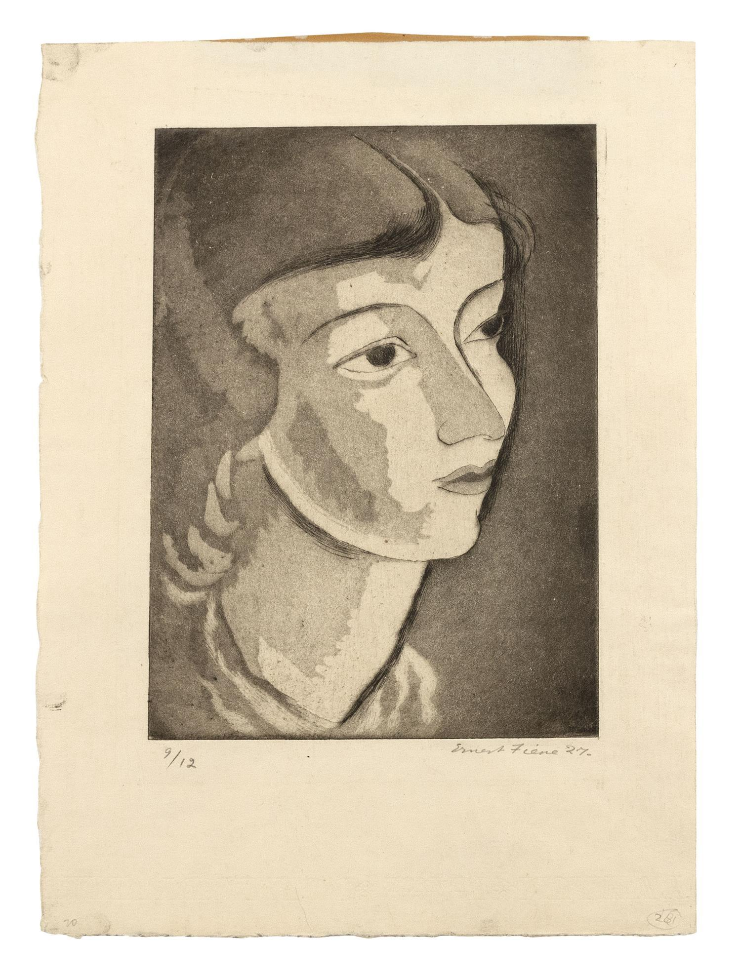 """ERNEST FIENE, New York/Germany, 1894-1965, Portrait of a woman looking right., Aquatint and etching, 8.75"""" x 6.5"""". Paper size 12.75""""..."""