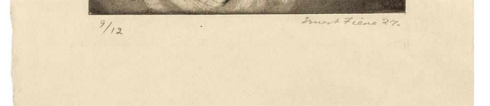 ERNEST FIENE, New York/Germany, 1894-1965, Portrait of a woman looking right., Aquatint and etching, 8.75