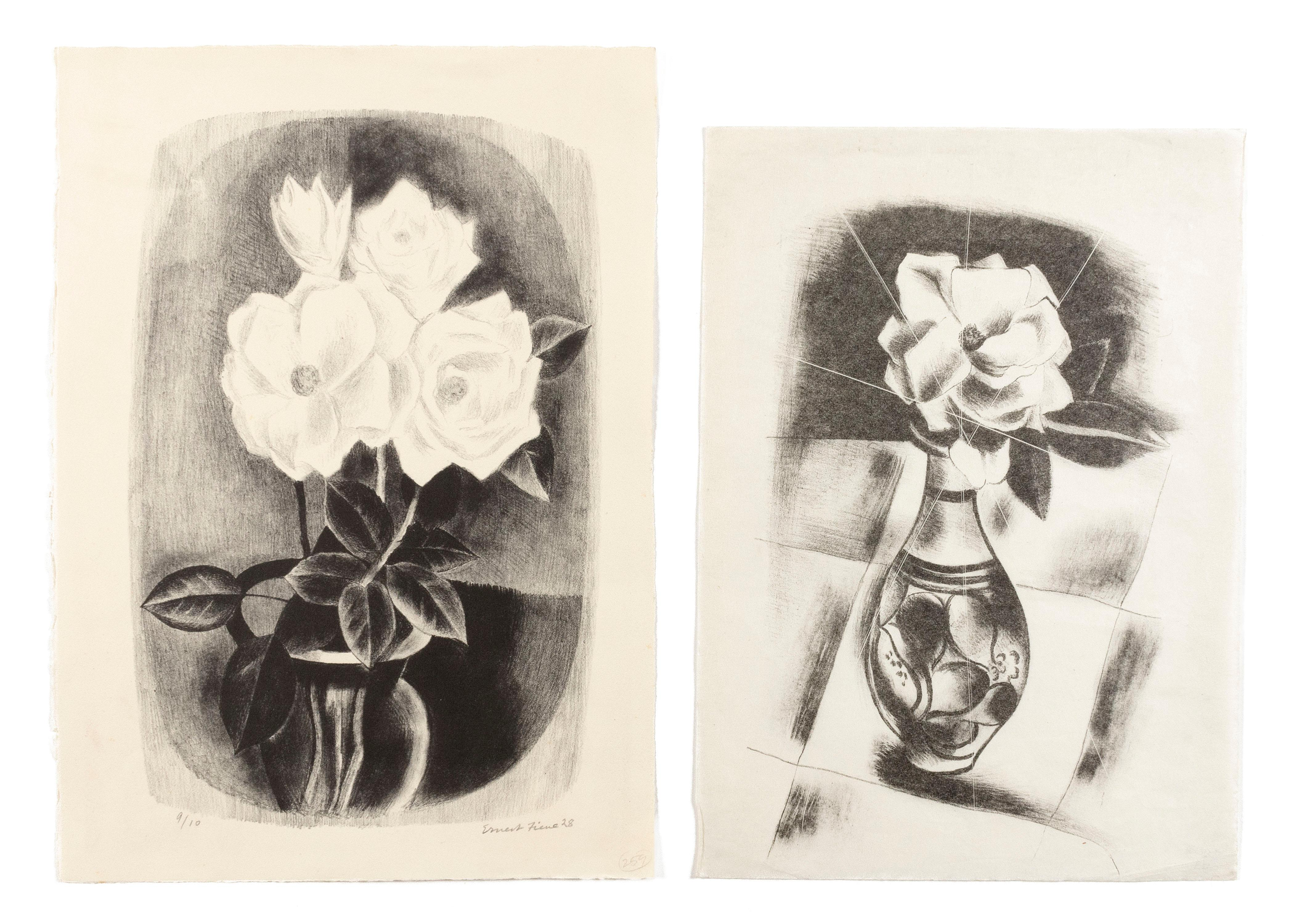 ERNEST FIENE, New York/Germany, 1894-1965, Two unframed works depicting white roses in a vase:
