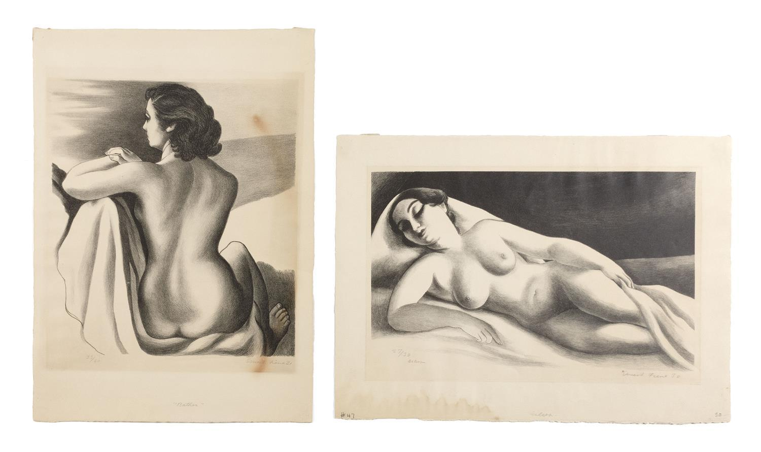 ERNEST FIENE, New York/Germany, 1894-1965, Two unframed lithographs: