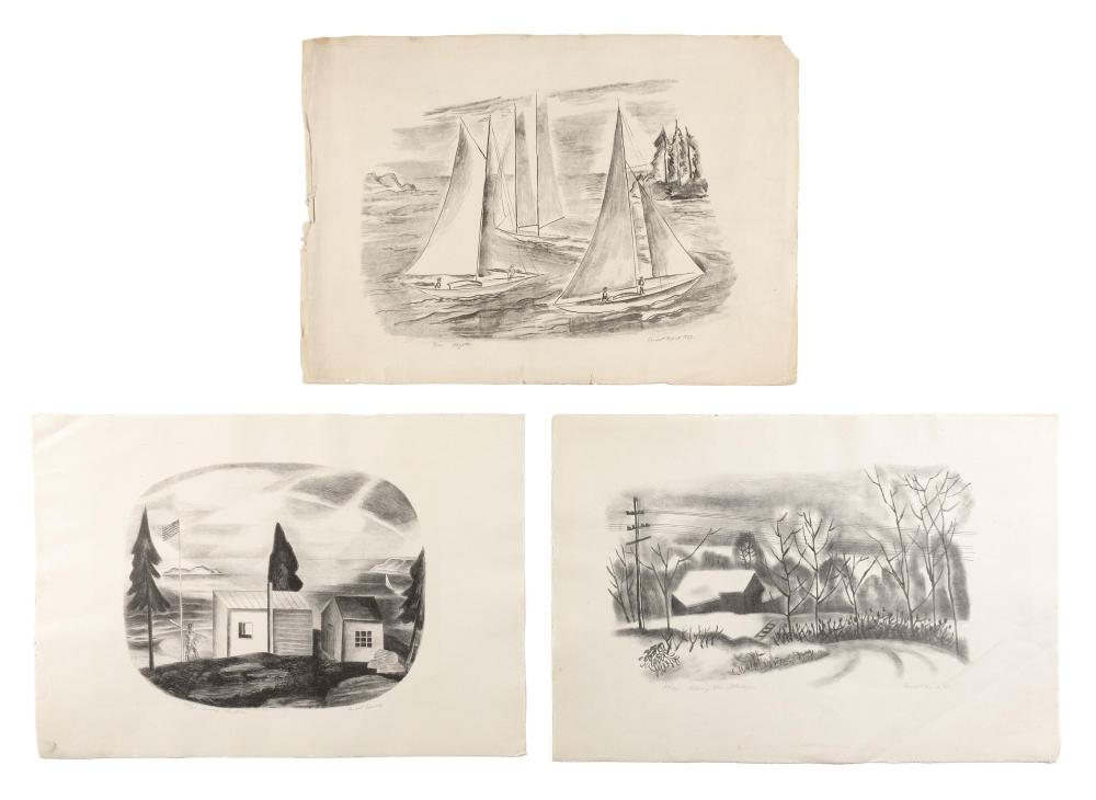 ERNEST FIENE, New York/Germany, 1894-1965, Three unframed lithographs on paper: