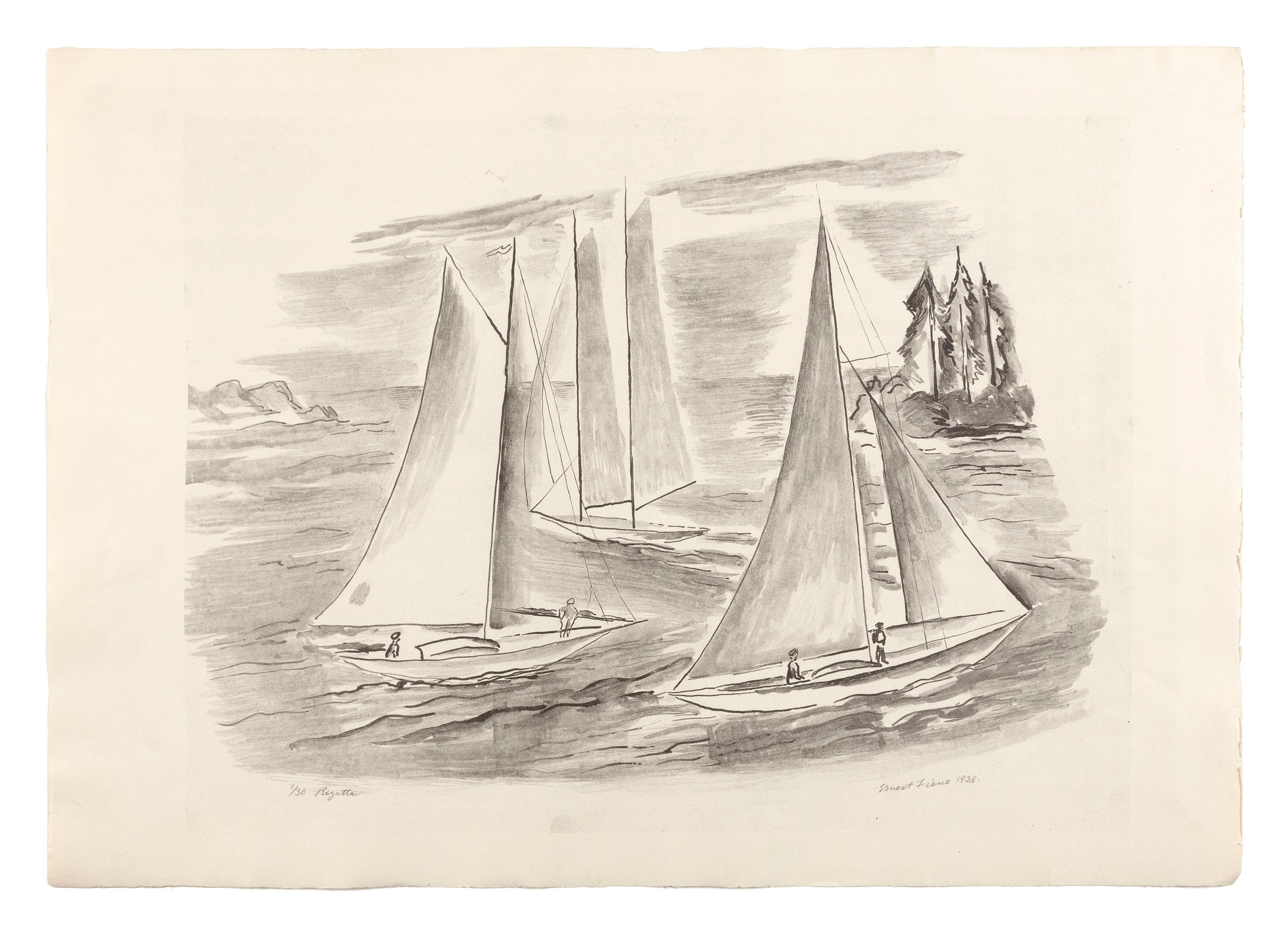 """ERNEST FIENE, New York/Germany, 1894-1965, """"Regatta"""". Edition 30, #1., Lithograph on Rives paper, image size 11.75"""" x 17.25"""". Paper..."""
