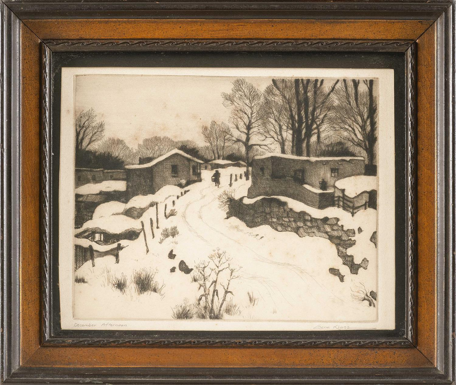 "GENE KLOSS, New Mexico/California, 1903-1996, ""December Afternoon"" (1944 edition)., Etching, 7.25"" x 9"" to the plate line. Framed 11..."