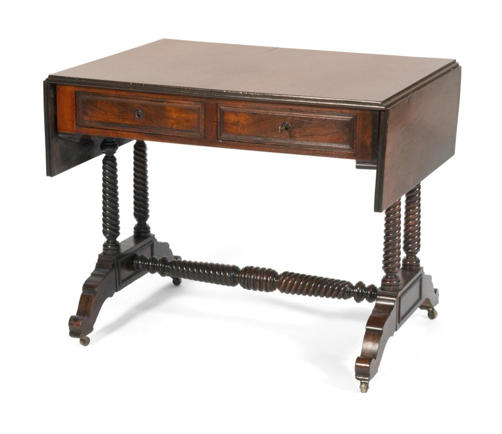 DROP-LEAF SOFA TABLE ATTRIBUTED TO J. & J.W. MEEKS In highly figured walnut veneer, with two half drawers in apron, rope-turned supp...