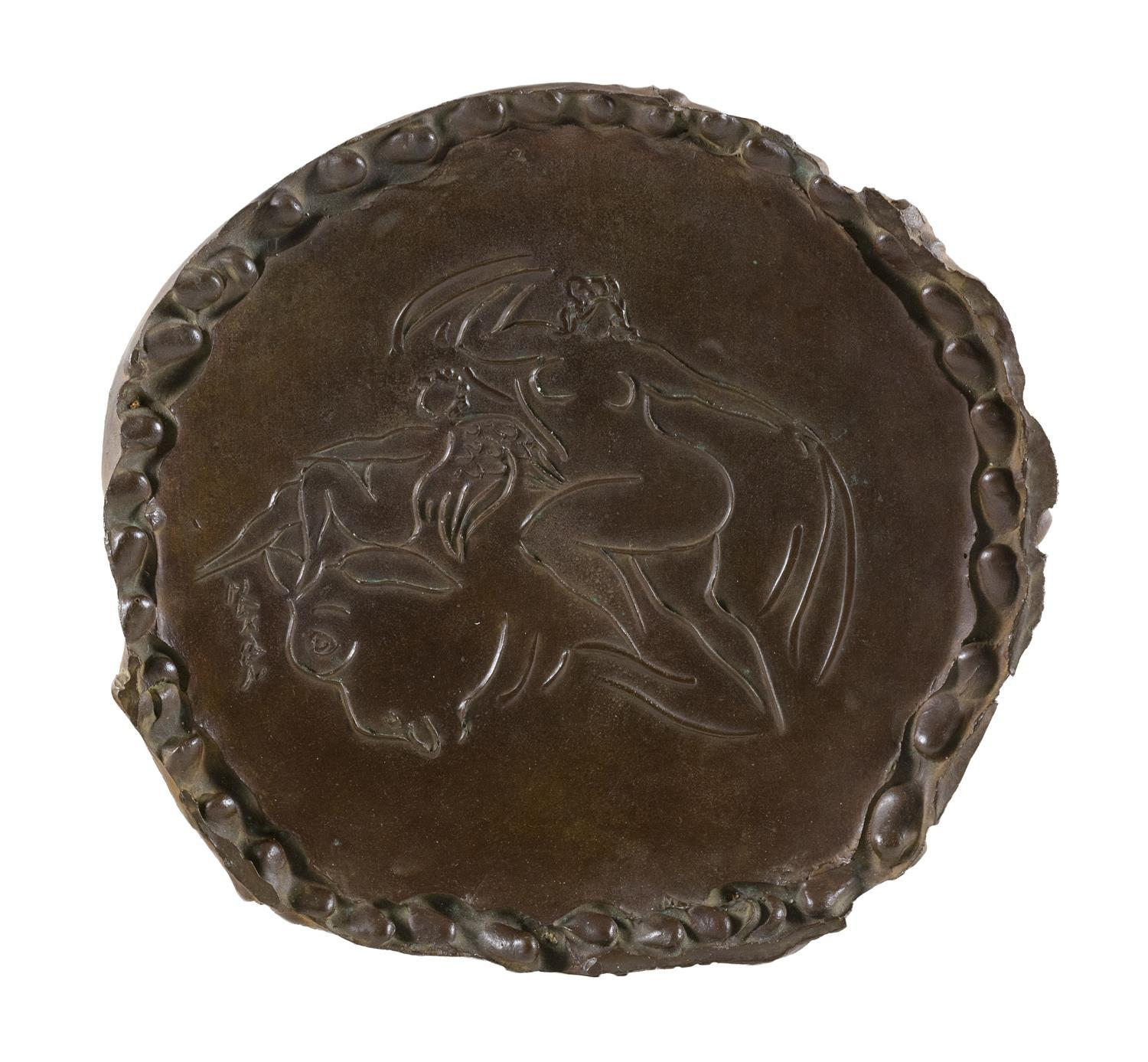 "REUBEN NAKIAN, New York/Connecticut, 1897-1986, Europa and the Bull., Bronze, diameter 17""."