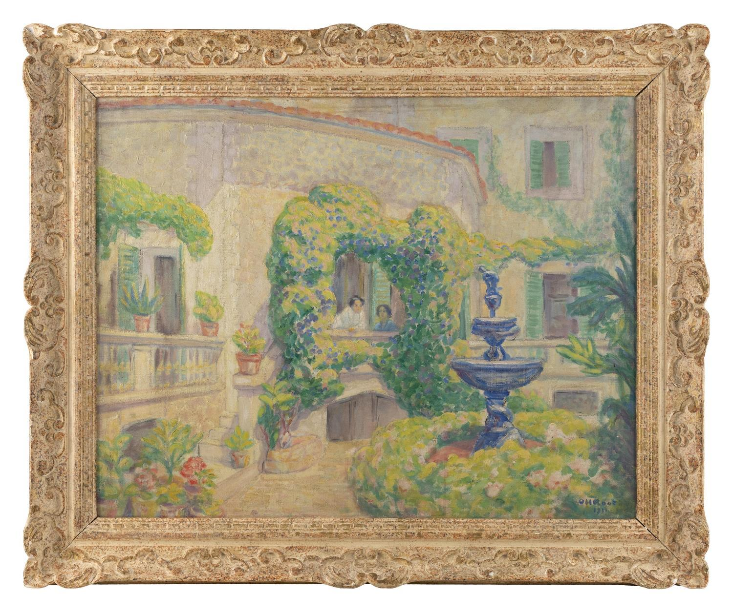 """ORVILLE HOYT ROOT, France, 1865-1929, """"On the Patio""""., Oil on canvas, 26"""" x 32"""". Framed 32"""" x 39""""."""