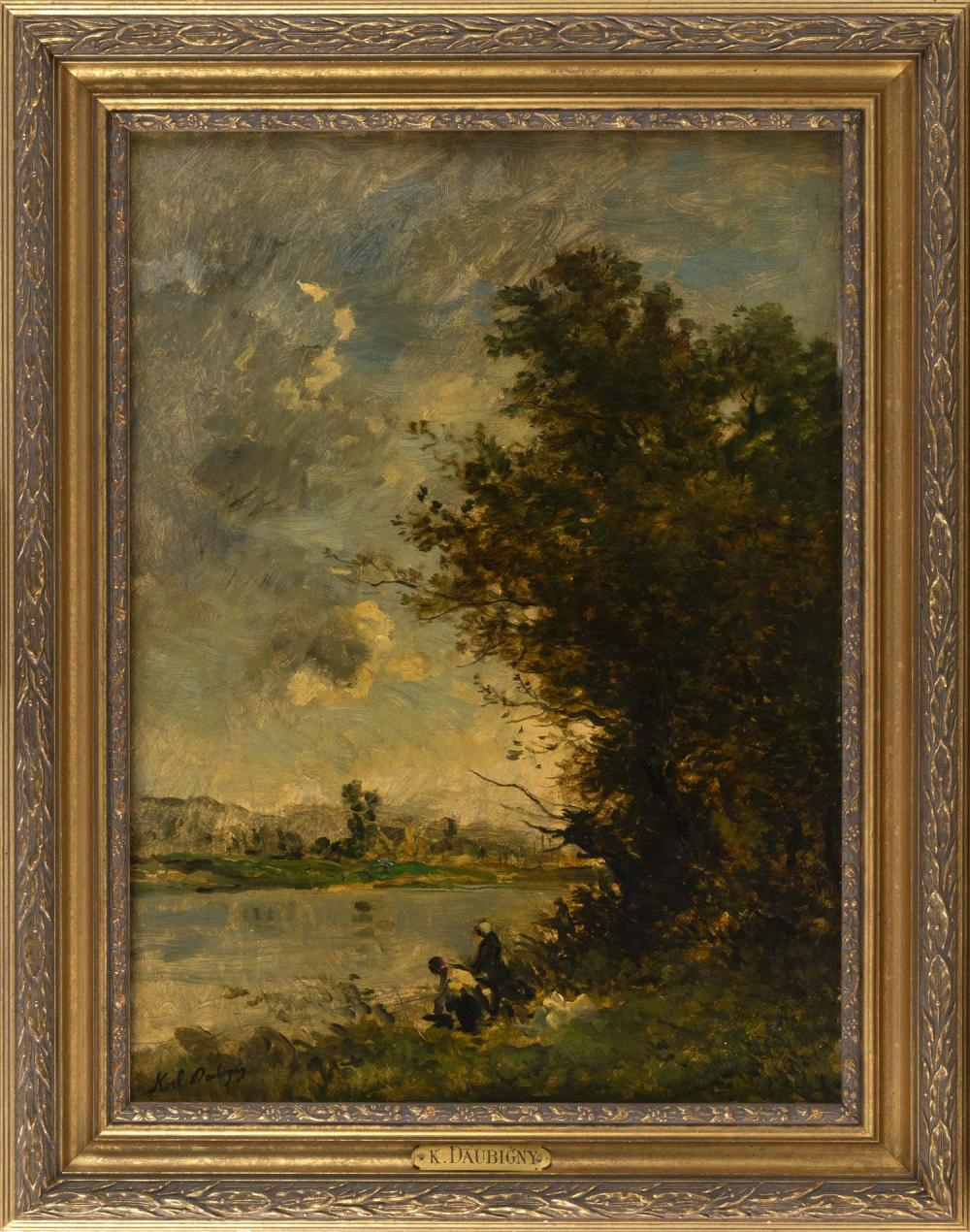 "KARL DAUBIGNY, France, 1846-1886, Figures by the water's edge., Oil on panel, 24"" x 17.5"". Framed 29.5"" x 23.5""."