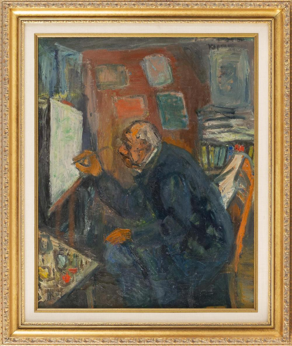 """BENJAMIN D. KOPMAN, United States/Russia, 1887-1965, """"The Old Artist""""., Oil on canvas, 20"""" x 16"""". Framed 25"""" x 29""""."""