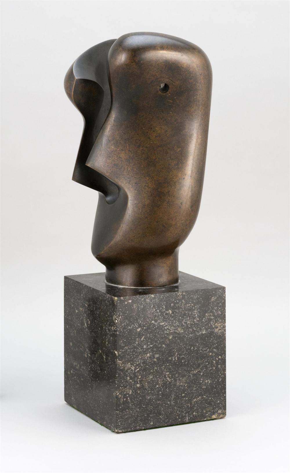 "HENRY SPENCER MOORE, United Kingdom, 1898-1986, ""Divided Head""., Bronze, height 13.75"". Total height including marble base 20.75""."