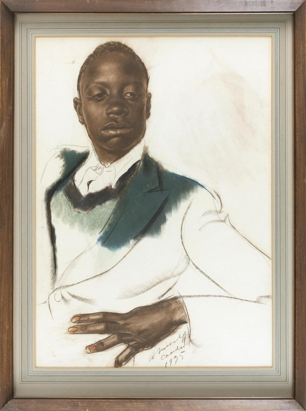 """ALEXANDRE YEVGENIEVICH YAKOVLEV, Russian Federation, 1887-1938, """"Camden, 1925"""" ., Charcoal, pastel and pencil on paper, 26"""" x 19"""" Fr..."""