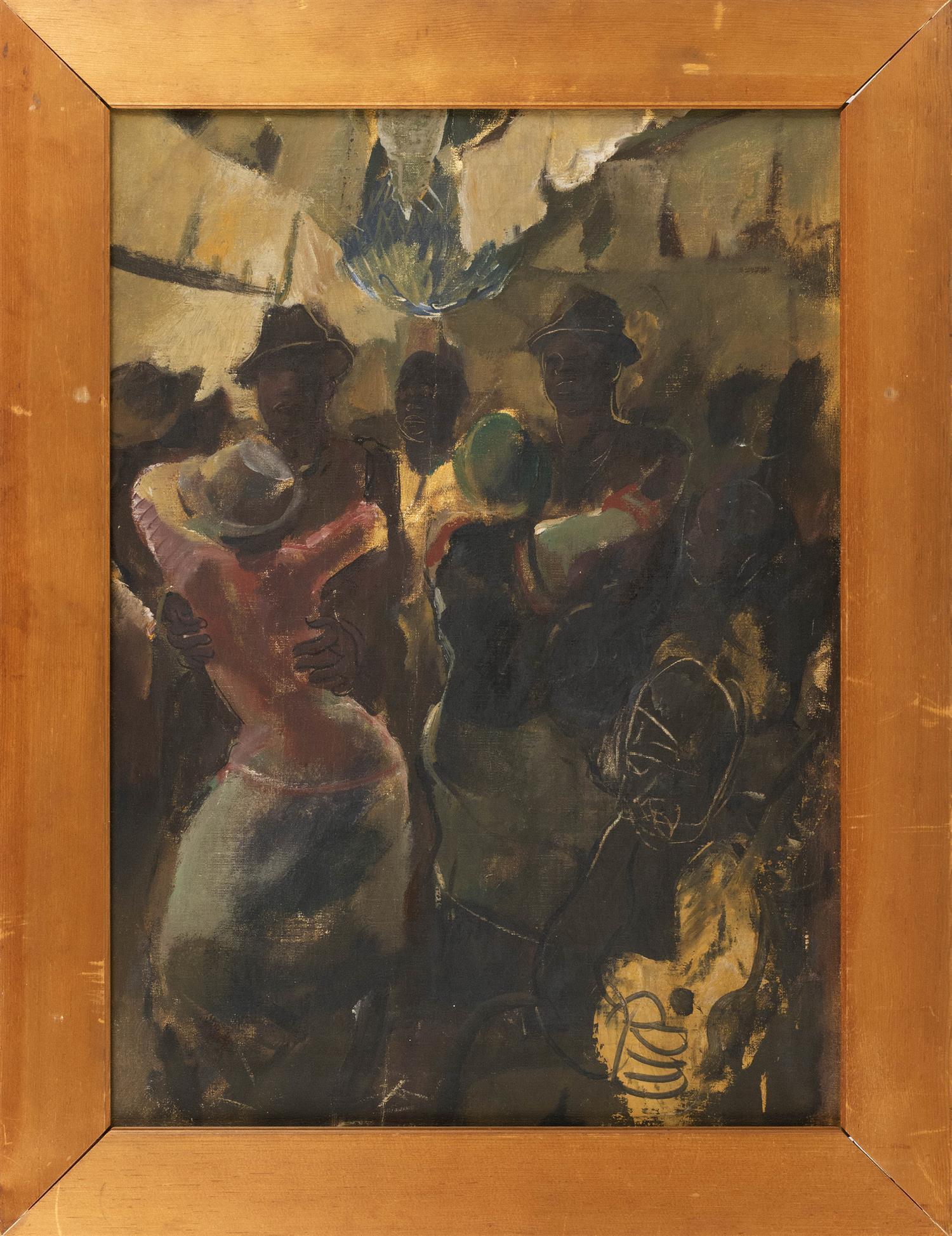 "ALEXANDRE YEVGENIEVICH YAKOVLEV, Russian Federation, 1887-1939, The Dance Hall., Oil on canvas, 26"" x 20"". Framed 32"" x 24""."