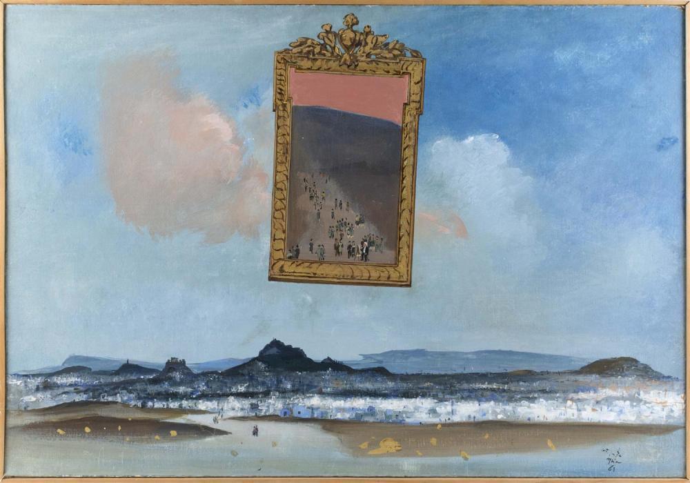 "SPYROS VASSILIOU, Greece, 1902-1985, ""Athens, 1965""., Oil on canvas wrapped over board, 31"" x 45"". Framed 33"" x 47""."