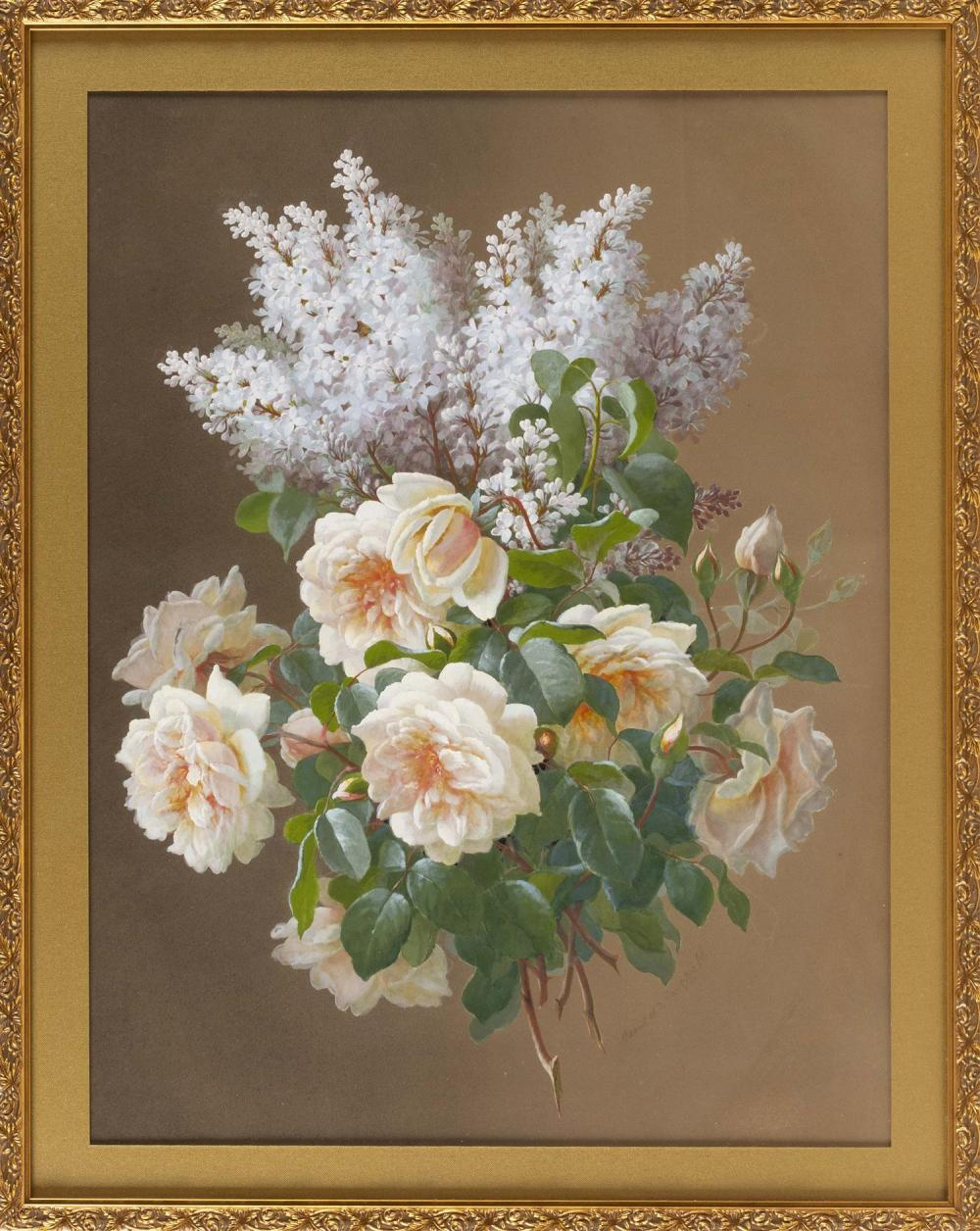 Art Print of Vintage Art Yellow Roses with Lilacs by Raoul de Longpre