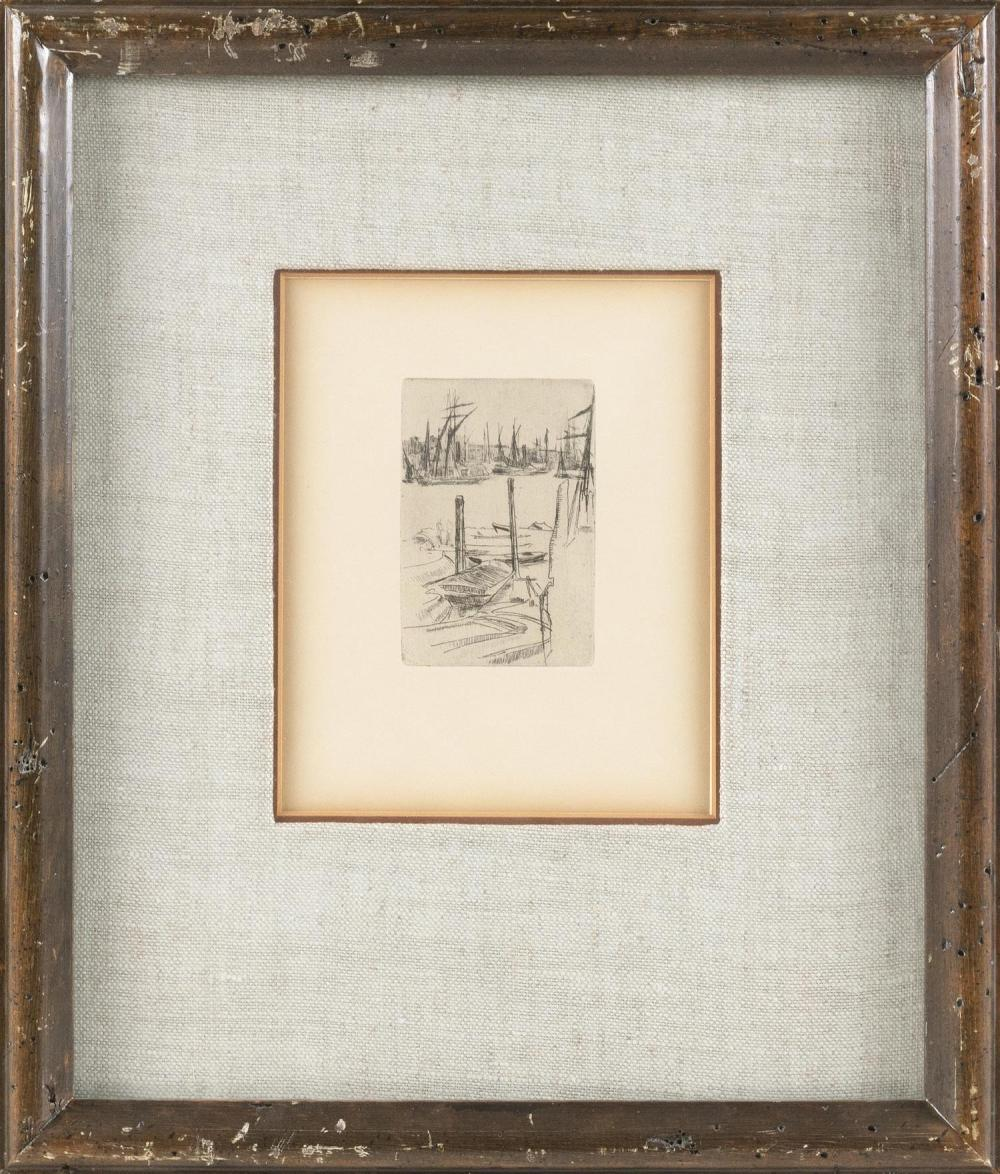 "JAMES ABBOTT MCNEILL WHISTLER, Massachusetts/England/France, 1834-1903, ""The Tiny Pool""., Etching and drypoint, 7.25"" x 5.25"" sight...."