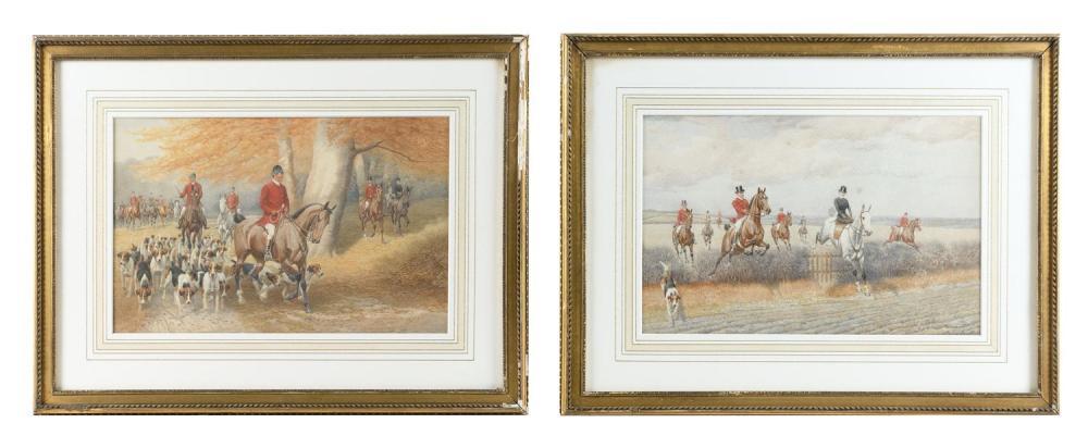 "EDWARD ALGERNON STUART DOUGLAS, United Kingdom, 1848-1918, Pair of hunting scenes., Watercolors on paper, 8"" x 12.5"" sight. Framed 1..."