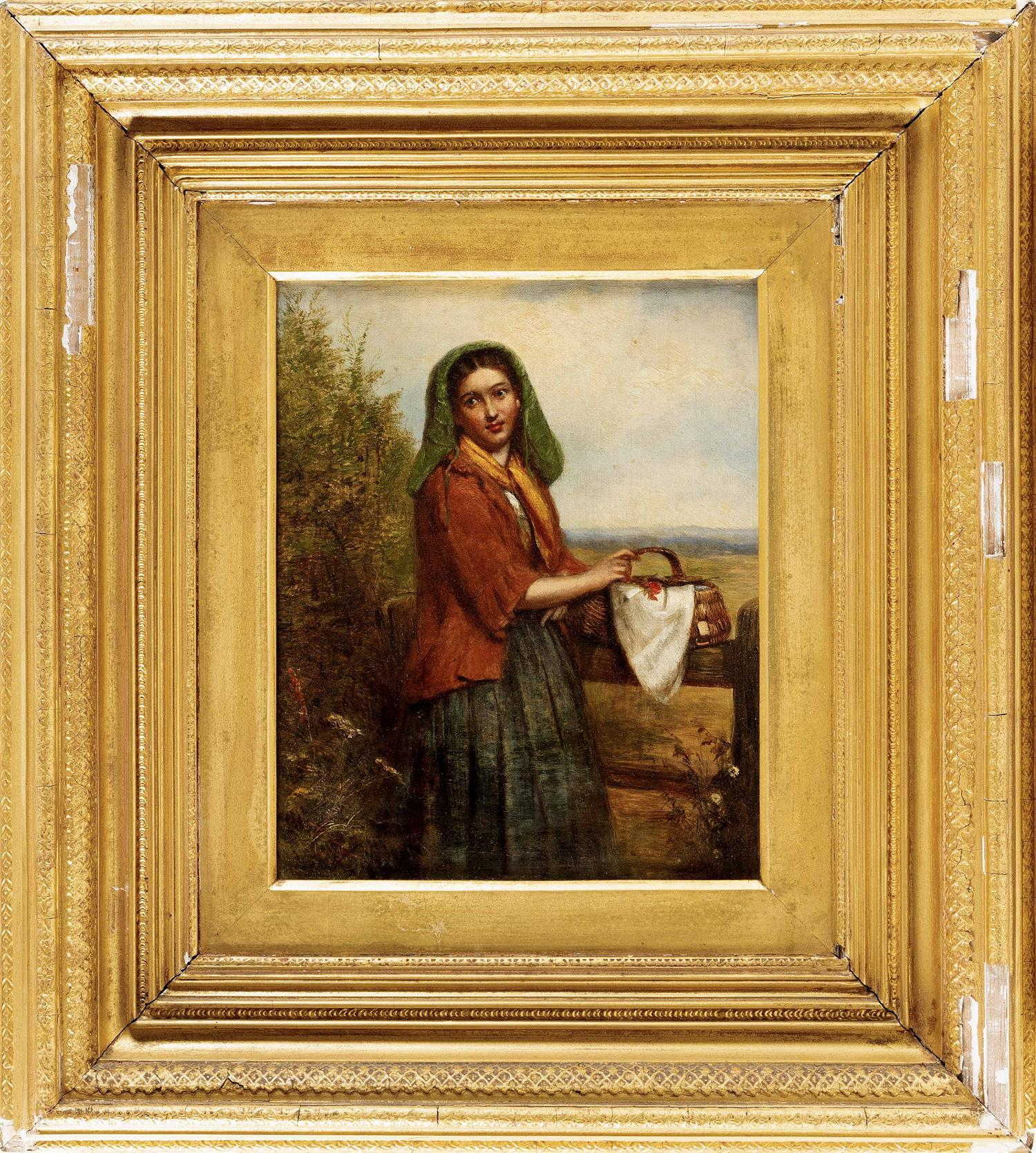 """ATTRIBUTED TO JOSEPH MOSELEY BARBER, England, 1757-1811, A young woman with a basket., Oil on canvas, 12"""" x 10"""". Framed 23"""" x 21""""."""