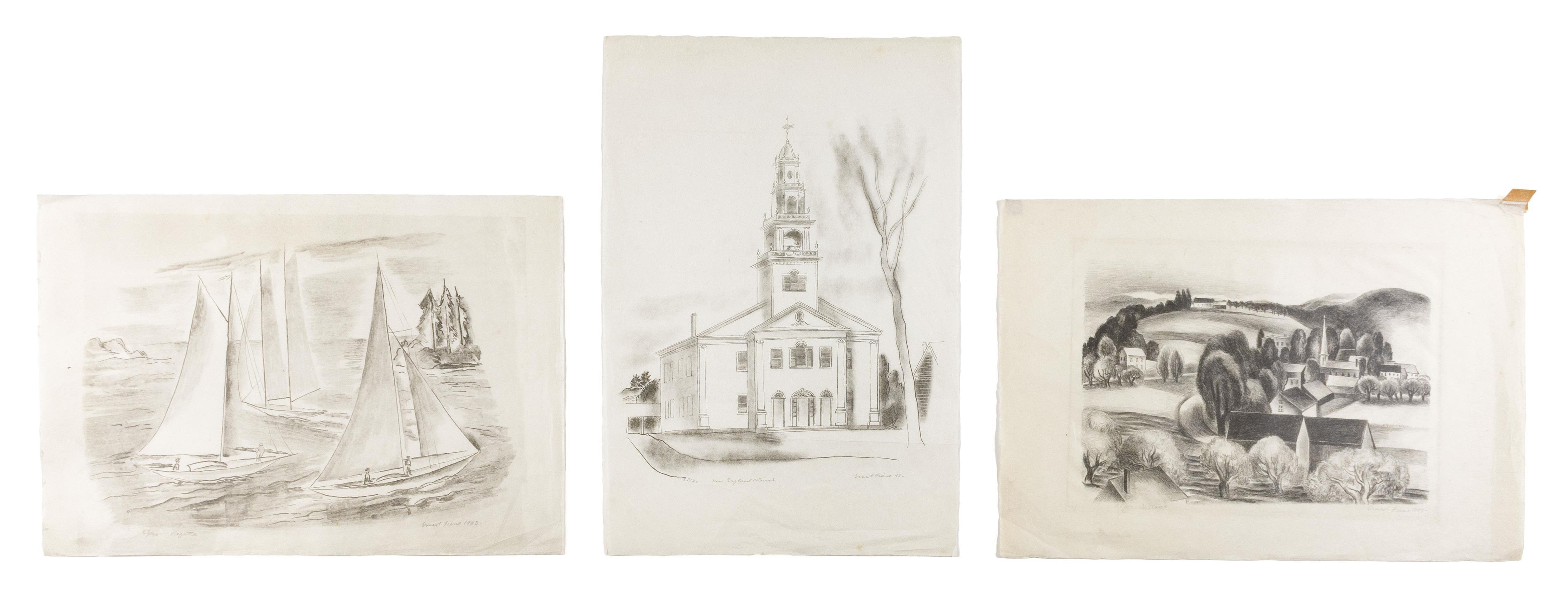 ERNEST FIENE, New York/Germany, 1894-1965, Three unframed lithographs on Japan paper: