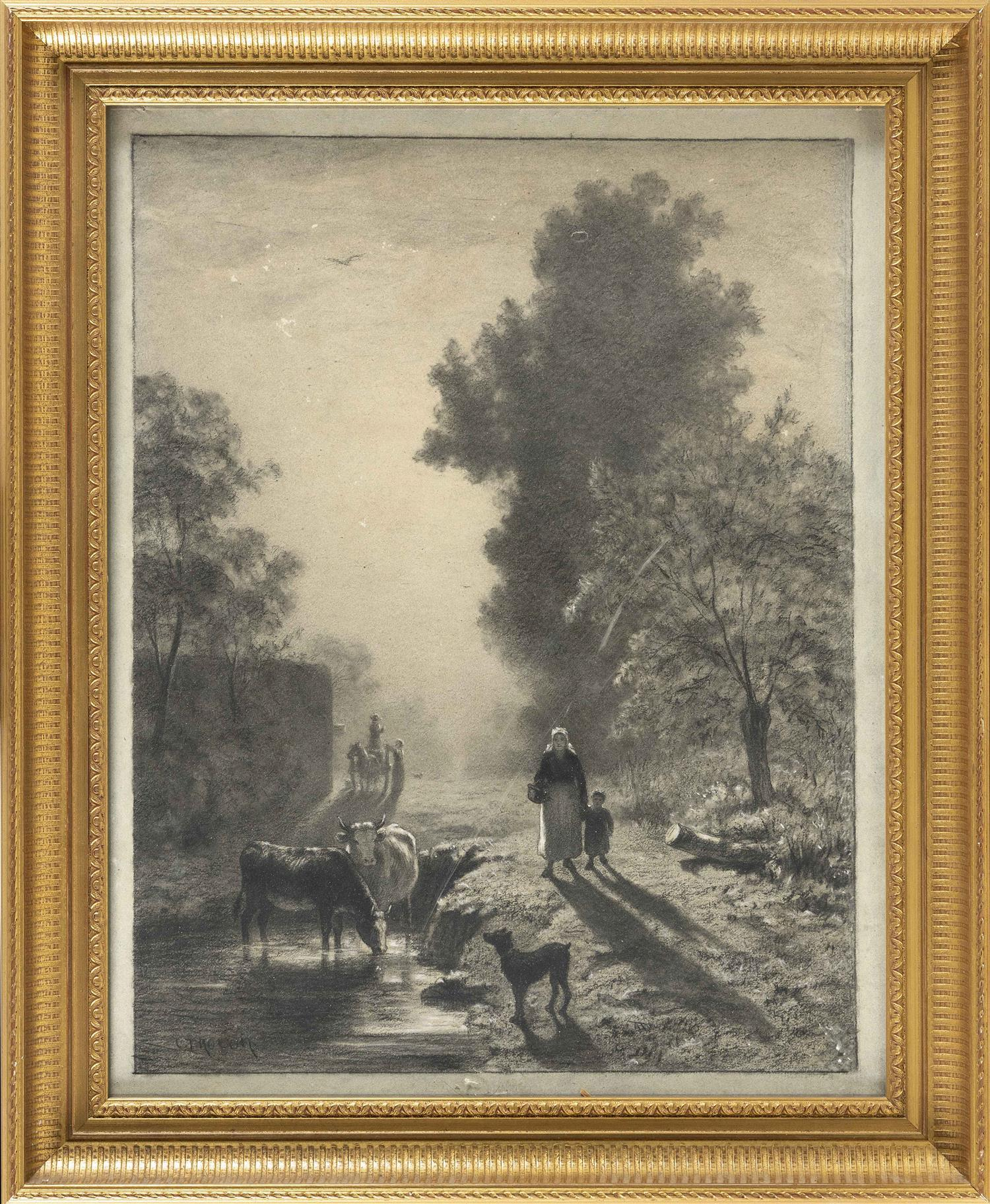 """CONSTANT TROYON, France, 1810-1865, Woman and child with livestock on a rural path., Charcoal on board, 20"""" x 16"""". Framed 25"""" x 20""""."""