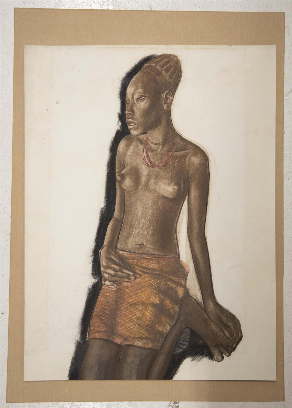 ALEXANDRE YEVGENIEVICH YAKOVLEV, Russian Federation, 1887-1938, Portrait of a young Bando woman., Charcoal, pastel and pencil on Arc...