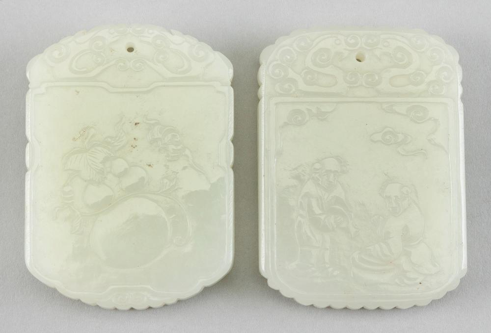 TWO CHINESE CARVED JADE PENDANTS 20th Century Both 2