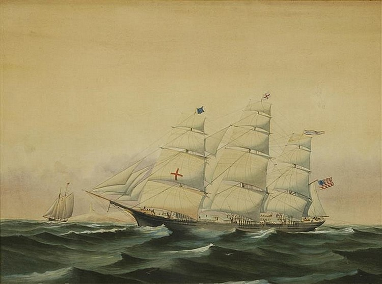 UNSIGNED WORK OF JOHN FAUNCE LEAVITT, American, 1905-1974, The U.S. clipper ship Dreadnaught., Watercolor, 21