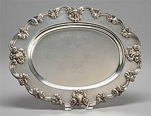 STERLING SILVER OVAL TRAY With applied swirl decoration. No maker's mark. Length 17.5
