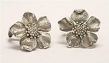 PAIR OF STERLING SILVER PIERCED EARRINGS BY TIFFANY & CO. In the form of dogwood blossoms. Diameter .87