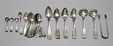 TWENTY-EIGHT PIECES OF AMERICAN SILVER FLATWARE By various makers. Includes four tablespoons, three salt spoons, one mustard ladle,...