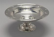 INTERNATIONAL SILVER CO. STERLING SILVER PEDESTAL BOWL With chased floral decoration and floral edge. Monogrammed. Height 3