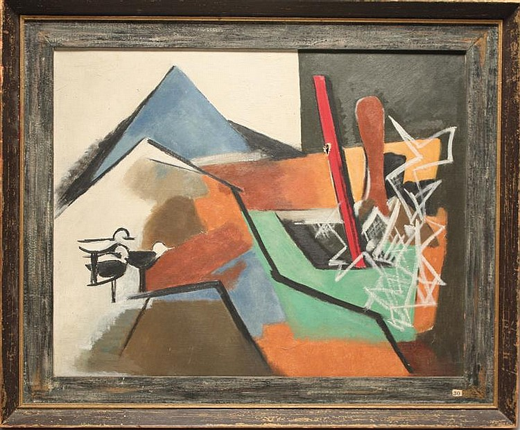 ANGELE MYRER, American, 1896-1970, Abstract., Oil on canvas, 16
