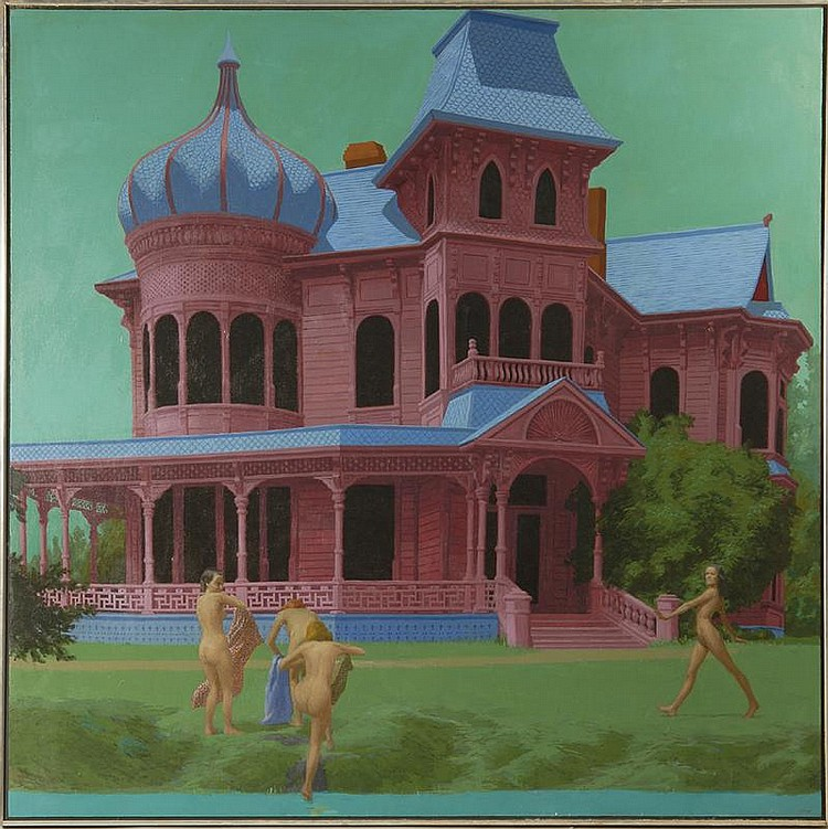 RICHARD ALLAN GEORGE, American, 1935-1990, Victorian house with four nude females in front yard., Oil on canvas, 54