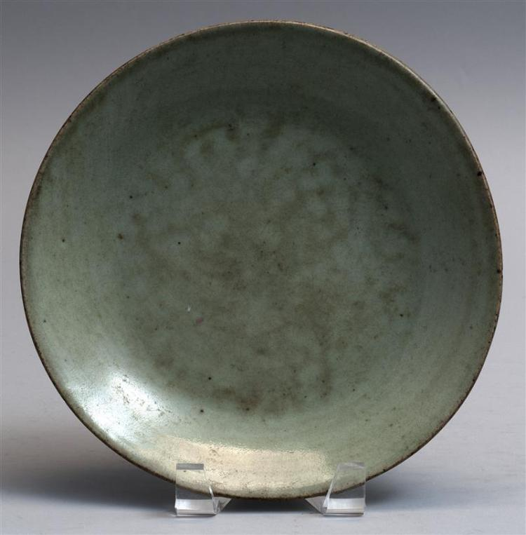 "CELADON PORCELAIN DISH With seal mark on base. Diameter 9.1"" (23 cm)."