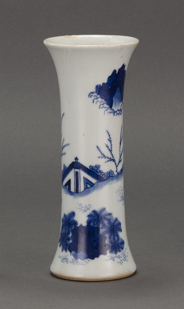 BLUE AND WHITE PORCELAIN VASE In trumpet form with finely painted figural landscape design. Height 7.25