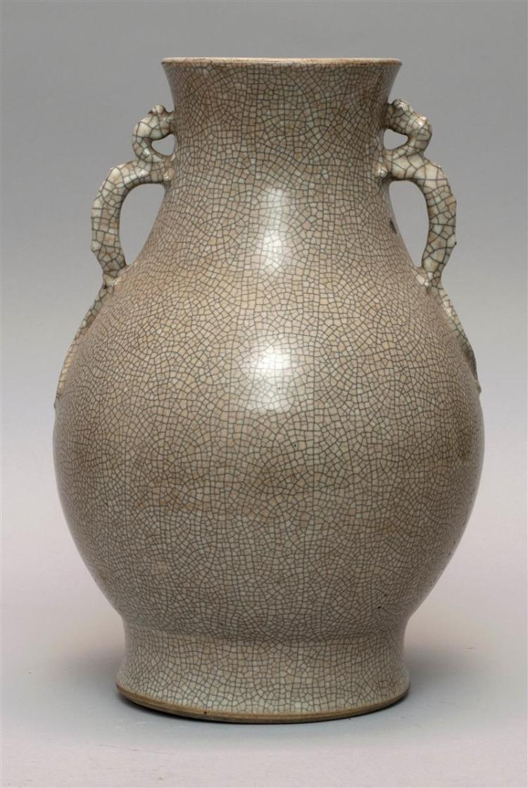 """GE WARE PORCELAIN VASE In pear shape with relief dragon handles. Height 13.25"""" (34 cm)."""