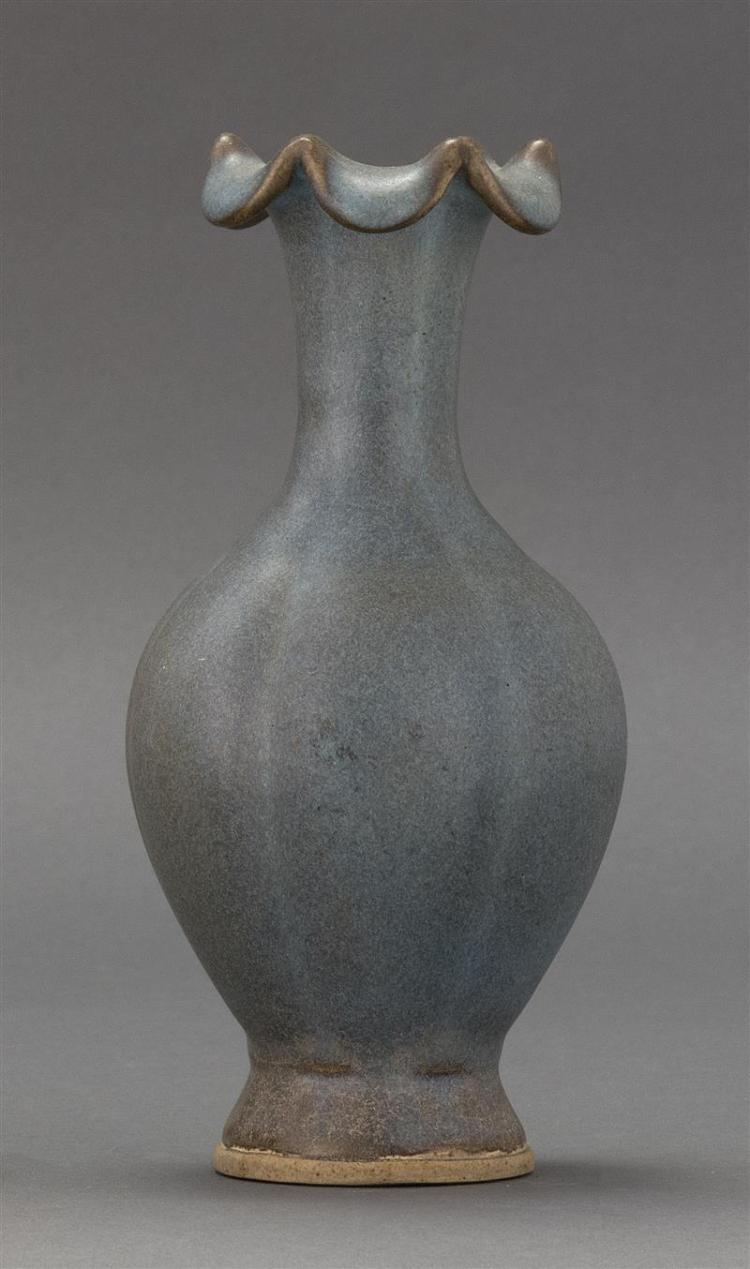 JUN GLAZE STONEWARE VASE In six-lobed baluster form with flower-form rim. Height 7.75