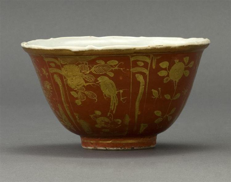 "RED AND GOLD-DECORATED PORCELAIN BOWL In bell form with bird and flower motif. Diameter 4.8"" (12.5 cm)."