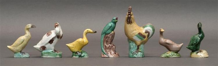 """SEVEN SANCAI POTTERY BIRD FIGURES A 4"""" (10.16 cm) rooster, five 3"""" (7.6 cm) ducks, and a 3"""" (7.6 cm) phoenix."""