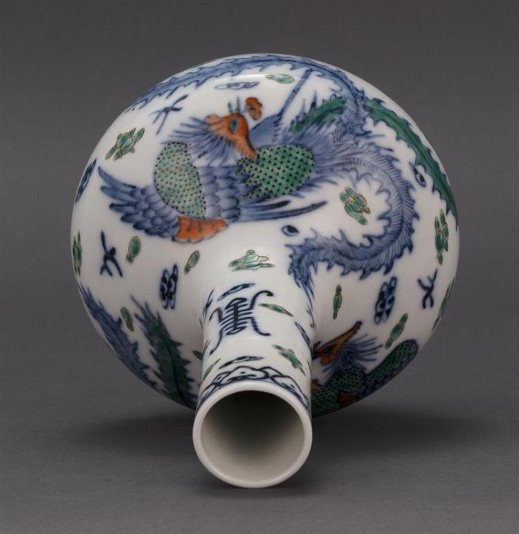 DOUCAI PORCELAIN VASE In bladder form with phoenix and shou design. Four-character Qianlong mark on base. Height 8