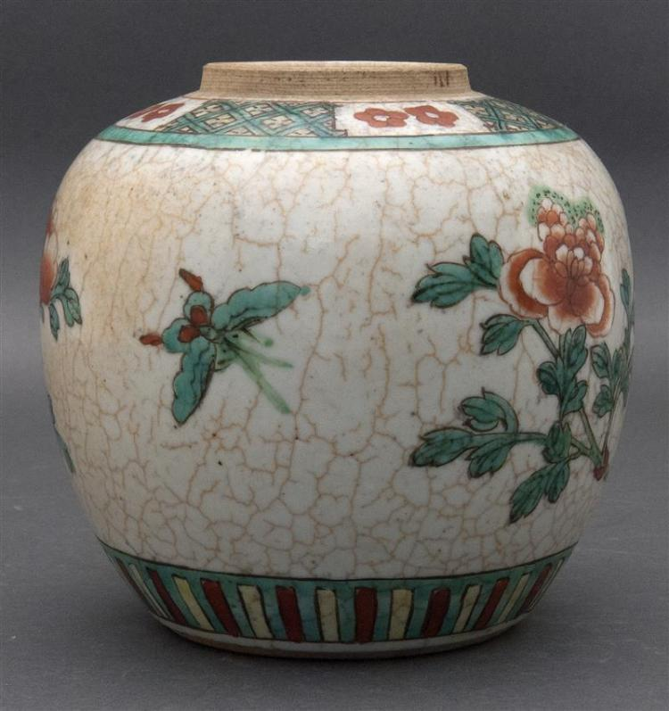 FAMILLE VERTE PORCELAIN JAR In ovoid form with peony design. Philadelphia retailer's label on base. Height 6.1