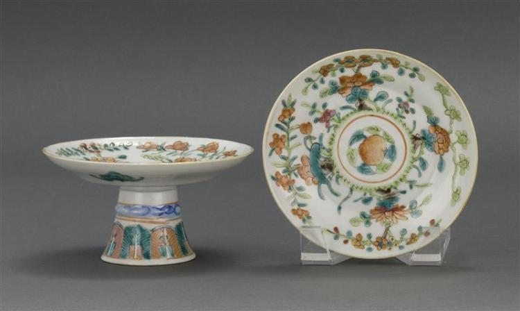 """PAIR OF FAMILLE ROSE PORCELAIN TAZZE With peach, peony, and prunus design. Diameters 4.3"""" (13.6 cm)."""