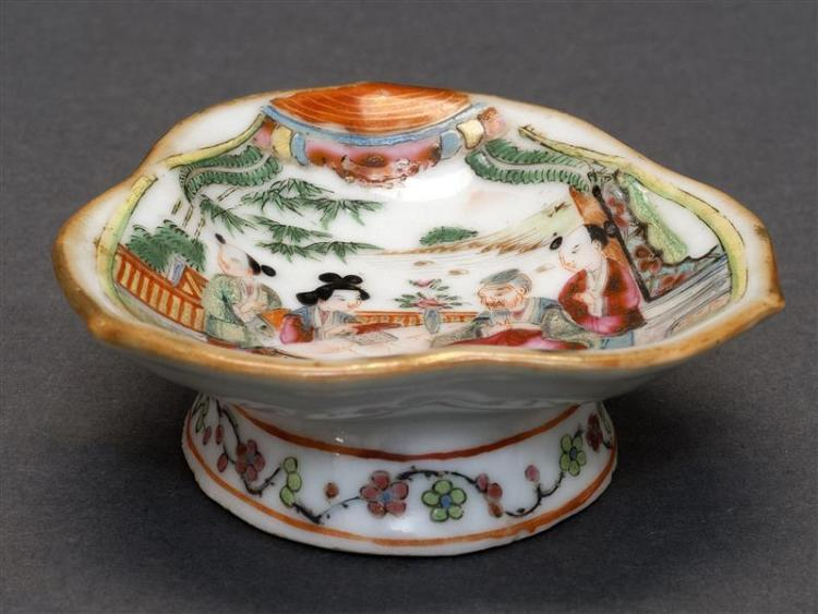 "FAMILLE ROSE PORCELAIN FOOTED DISH In ruyi fungus form with figural decoration. Length 3.1"" (8 cm)."
