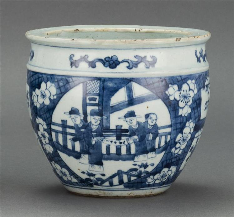 """BLUE AND WHITE PORCELAIN JAR In ovoid form with figural cartouches on floral ground. Diameter 6.3"""" (16 cm)."""