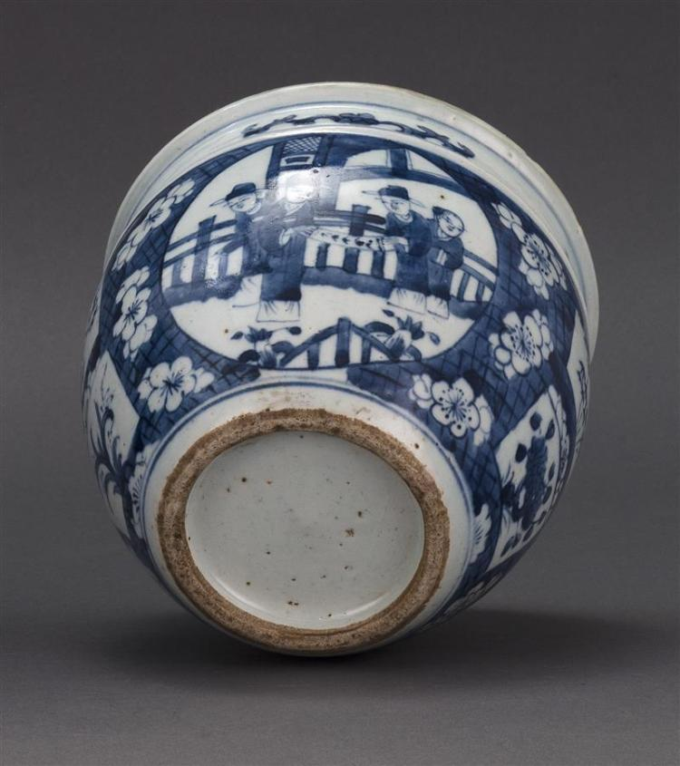 BLUE AND WHITE PORCELAIN JAR In ovoid form with figural cartouches on floral ground. Diameter 6.3