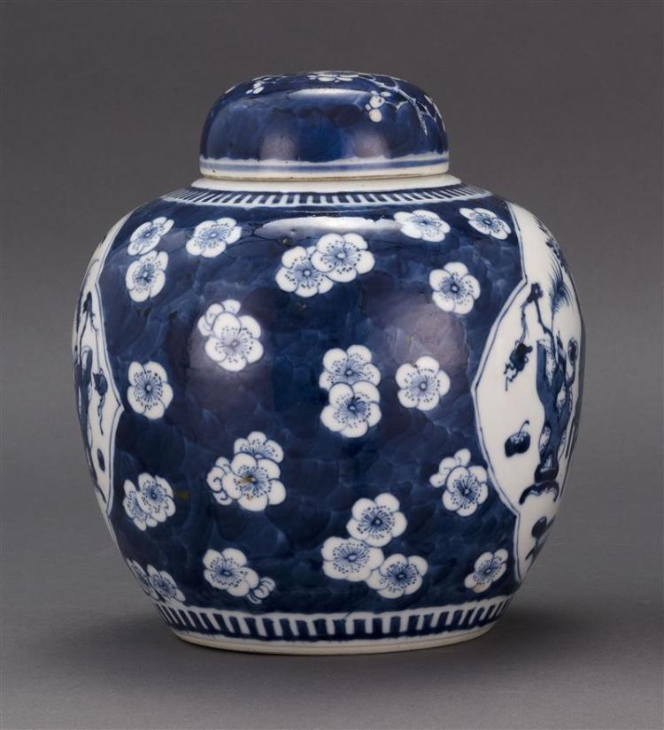 BLUE AND WHITE PORCELAIN GINGER JAR Decorated with cartouches of scholars' objects on a flower and cracked-ice ground. Four-characte..