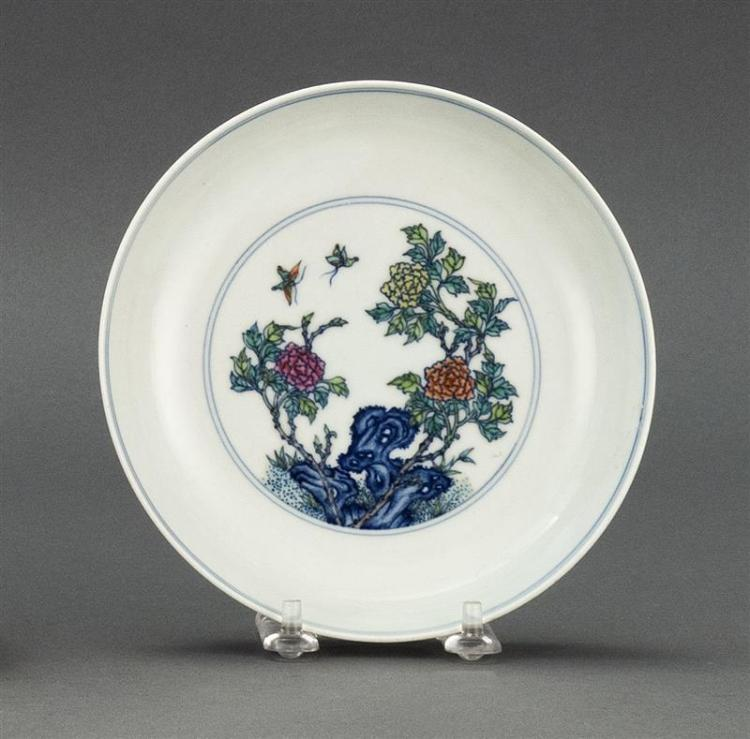 """DOUCAI PORCELAIN DISH With butterfly and flower design. Six-character Yongzheng mark on base. Diameter 6.2"""" (15.7 cm)."""