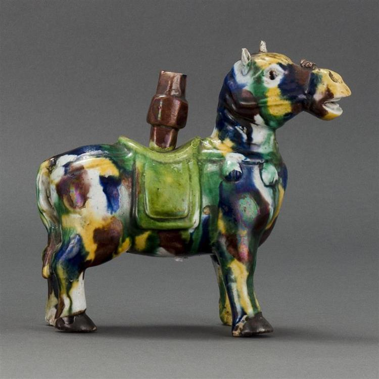 "WUCAI PORCELAIN JOSS STICK HOLDER In the form of a caparisoned horse. Height 6.5"" (16.5 cm)."